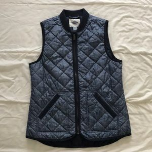 Chambray Quilted Old Navy Vest, Size S